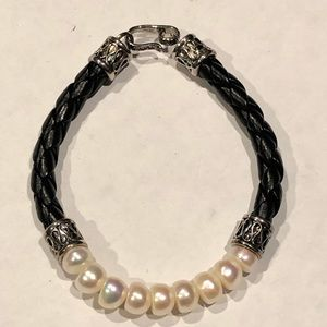 Sterling Silver, Pearl, and Leather Bracelet